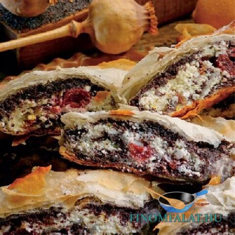 Túrós-mákos-meggyes rétes recept